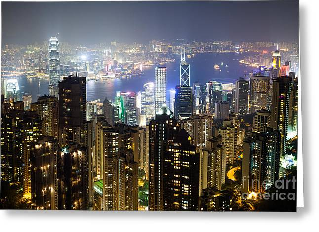 Hong Kong Harbor From Victoria Peak At Night Greeting Card