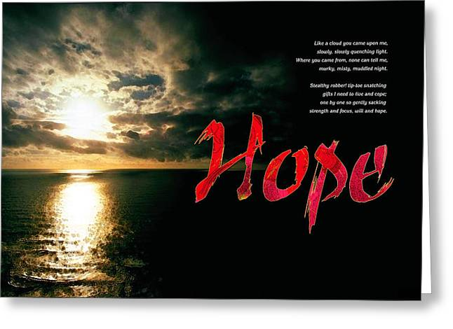 Greeting Card featuring the digital art Hope by Chuck Mountain
