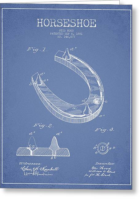 Horseshoe Patent Drawing From 1881 Greeting Card by Aged Pixel