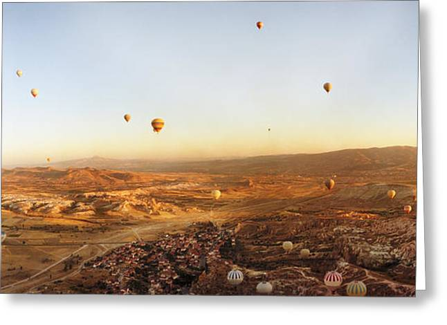Hot Air Balloons Over Landscape Greeting Card