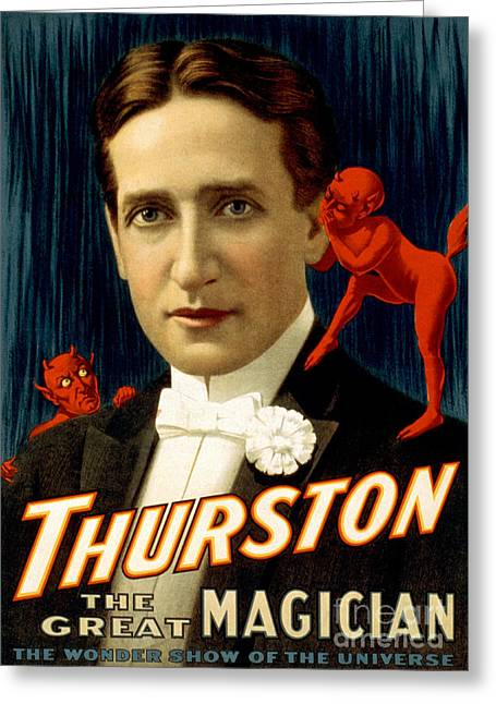Howard Thurston, American Magician Greeting Card by Photo Researchers