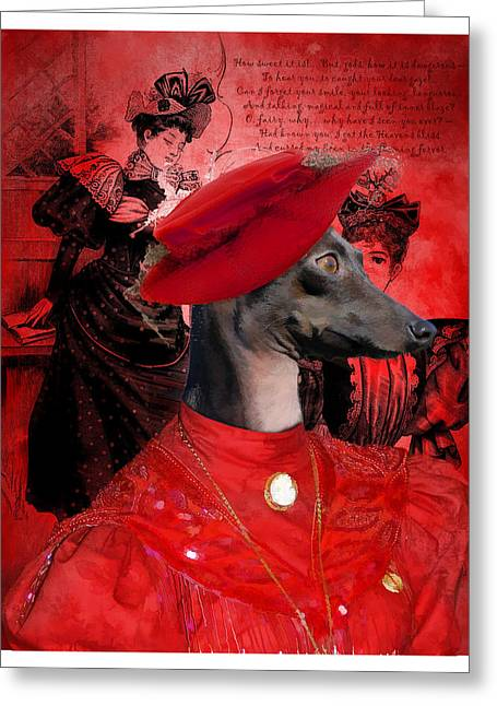 Italian Greyhound Art Canvas Print Greeting Card