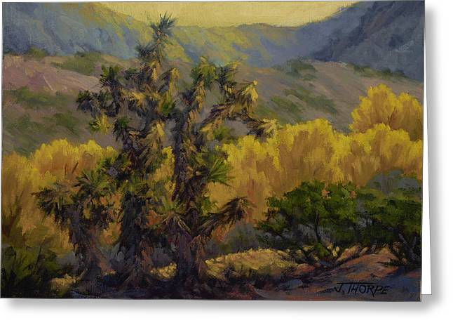 Joshua Trees And Cottonwoods Greeting Card