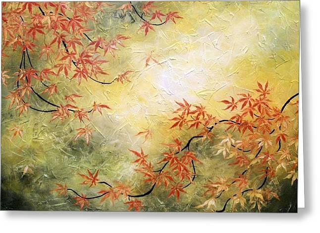 Japanese Maple Tree Greeting Card by Tomoko Koyama