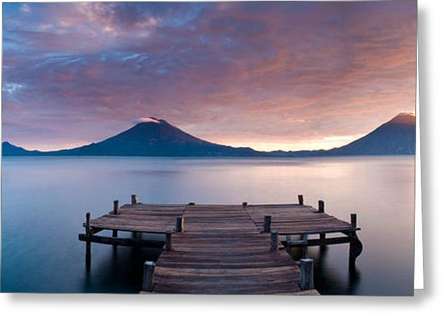Jetty In A Lake With A Mountain Range Greeting Card