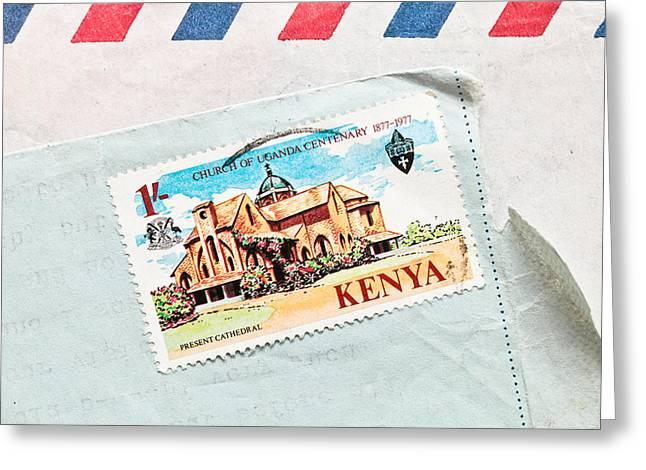 Kenya Stamp Greeting Card by Tom Gowanlock