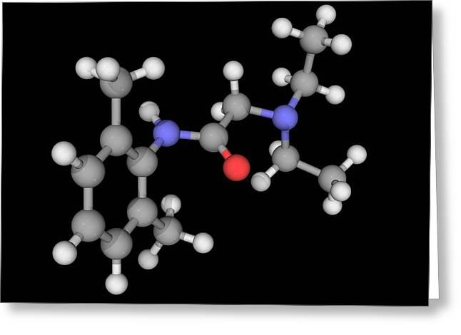 Lidocaine Drug Molecule Greeting Card by Laguna Design/science Photo Library