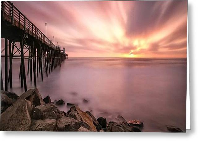 Long Exposure Sunset At The Oceanside Greeting Card by Larry Marshall