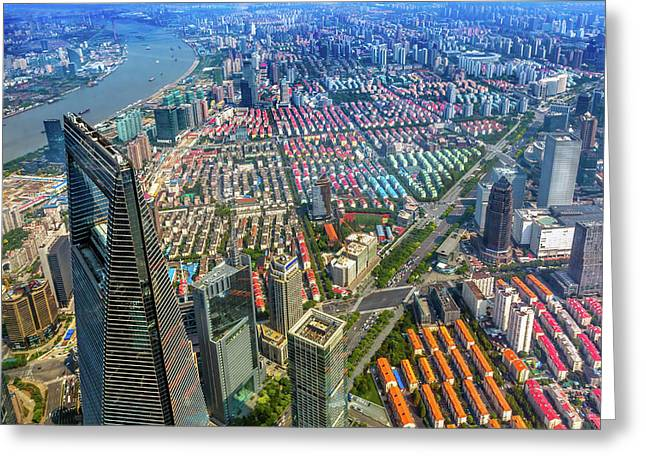Looking Down On Black Shanghai World Greeting Card