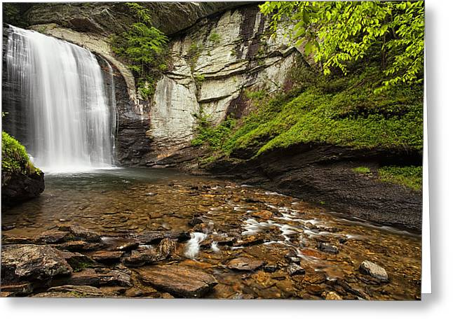Looking Glass Falls Greeting Card by Andrew Soundarajan