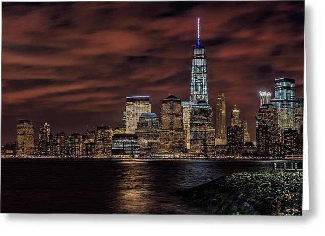 Manhattan Skyline At Twilight, Liberty Greeting Card by F. M. Kearney