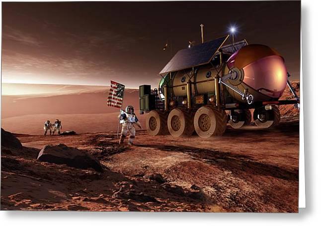 Mars Exploration Greeting Card by Detlev Van Ravenswaay