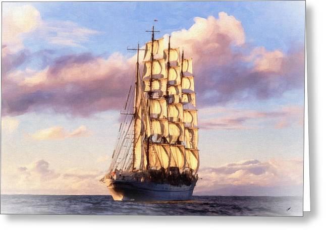 4 Mast Barque Greeting Card