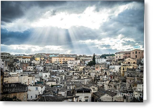 Matera City Of Stones Greeting Card by Sabino Parente