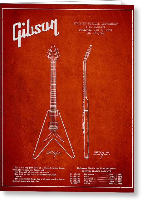 Mccarty Gibson Electric Guitar Patent Drawing From 1958 - Red Greeting Card