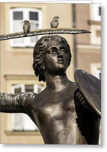 Mermaid Statue In Warsaw. Greeting Card by Fernando Barozza
