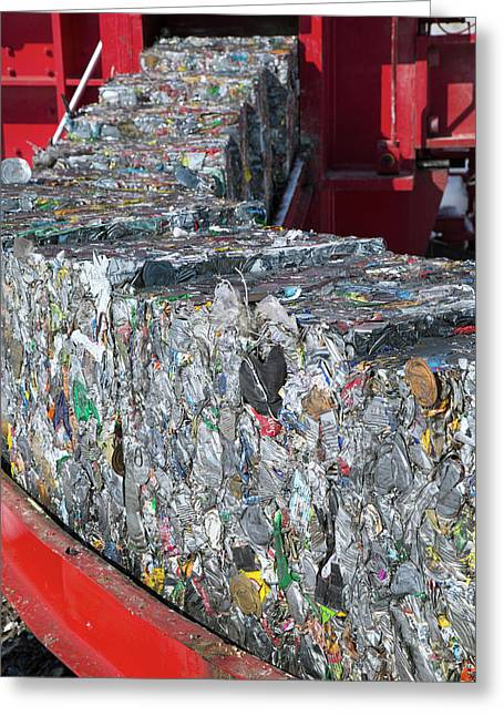Metal Cans At A Recycling Centre Greeting Card