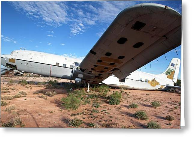 Military Aircraft In Salvage Yard Greeting Card by Jim West