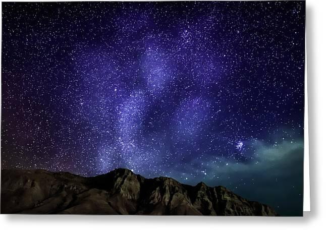 Milky Way Galaxy With Aurora Borealis Greeting Card