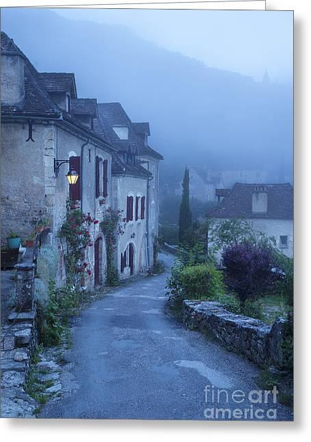 Misty Dawn In Saint Cirq Lapopie Greeting Card by Brian Jannsen