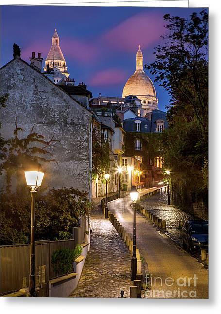 Montmartre Twilight Greeting Card by Brian Jannsen
