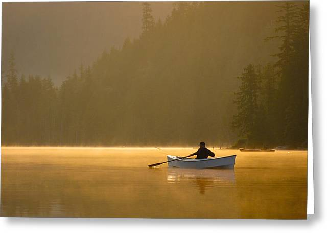 Morning Mist On The Lake Greeting Card