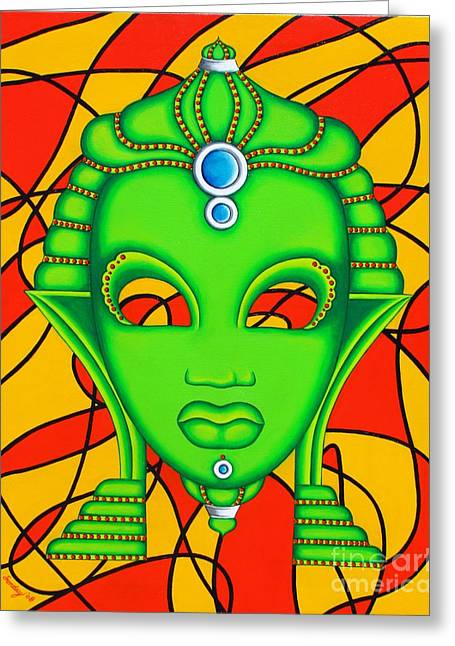 Nubian Modern Mask Greeting Card by Joseph Sonday