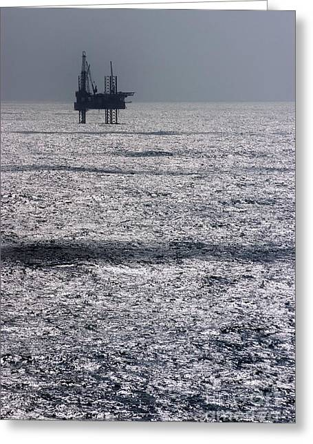 Oil Platform Greeting Card by Arno Massee