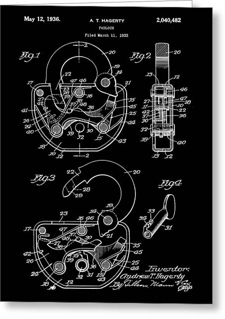 Padlock Patent 1935 - Black Greeting Card by Stephen Younts