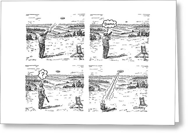 4 Panels.  Man Shoots At A Grout Which Then Turns Greeting Card