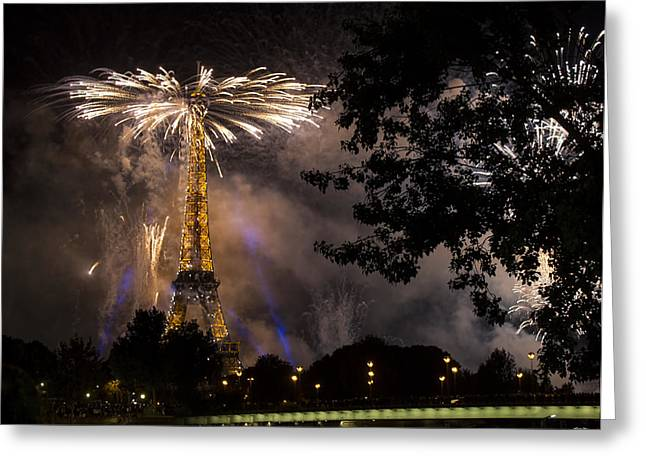 Paris - July Famous Fireworks Near Eiffel Tower During Celeb Greeting Card
