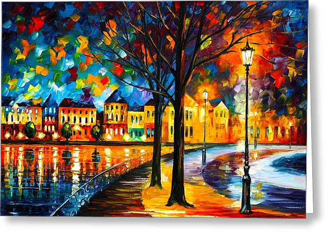 Park By The River Greeting Card by Leonid Afremov
