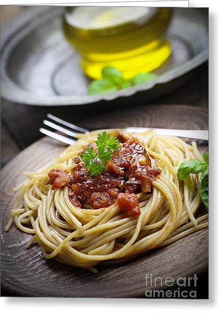 Pasta With Tomato Sauce Greeting Card by Mythja  Photography
