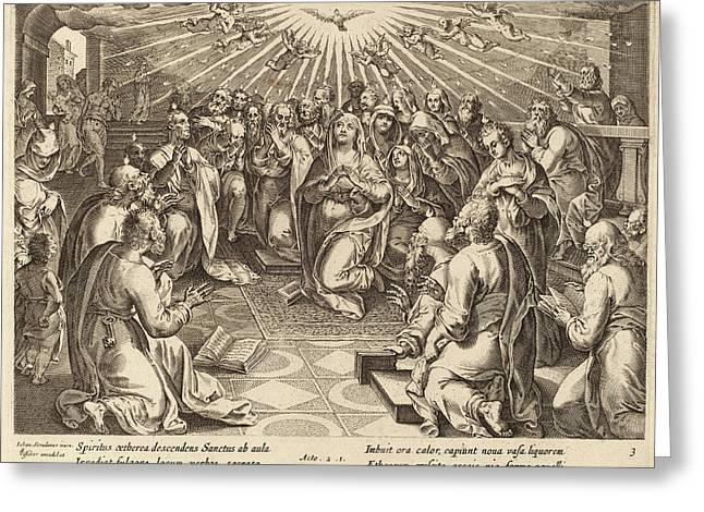 Philip Galle After Jan Van Der Straet Flemish Greeting Card