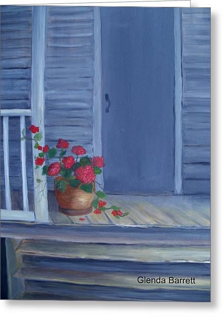 Porch Flowers Greeting Card by Glenda Barrett