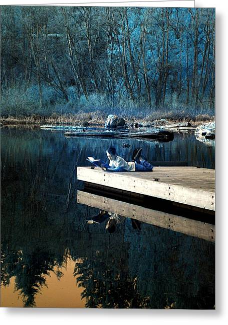 Greeting Card featuring the photograph Quiet Moments Reading by Rebecca Parker