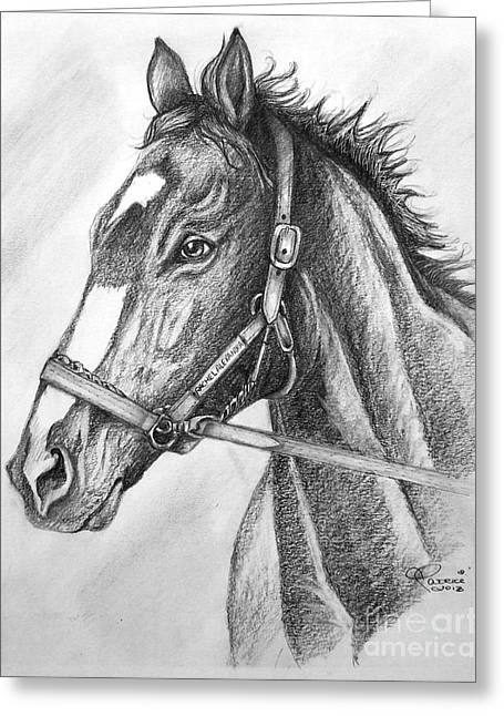 Greeting Card featuring the drawing Rachel Alexandra by Patrice Torrillo