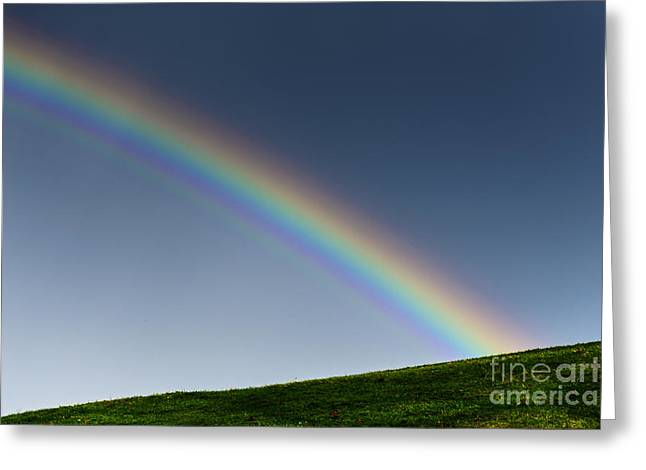 Rainbow Over Pasture Field Greeting Card by Thomas R Fletcher