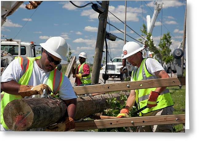 Repairing Power Lines Greeting Card by Jim West