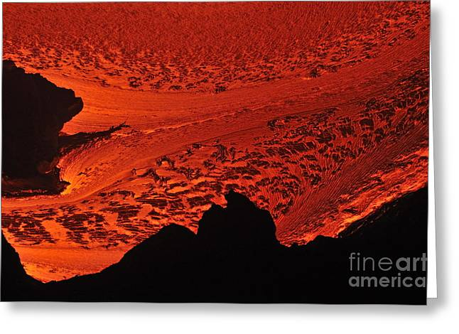 River Of Molten Lava Flowing To The Ocean Greeting Card