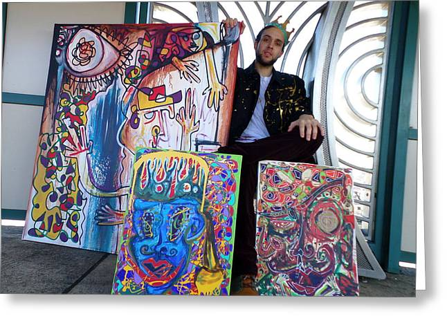 Scribz -king Of Paint Greeting Card by TSB Art Gallery Dennis Thompson Jr Curator Photographer
