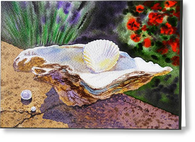 Sea Shell And Pearls Morning Light Greeting Card by Irina Sztukowski