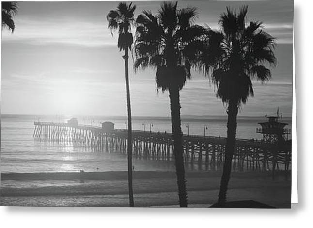 Silhouette Of A Pier, San Clemente Greeting Card