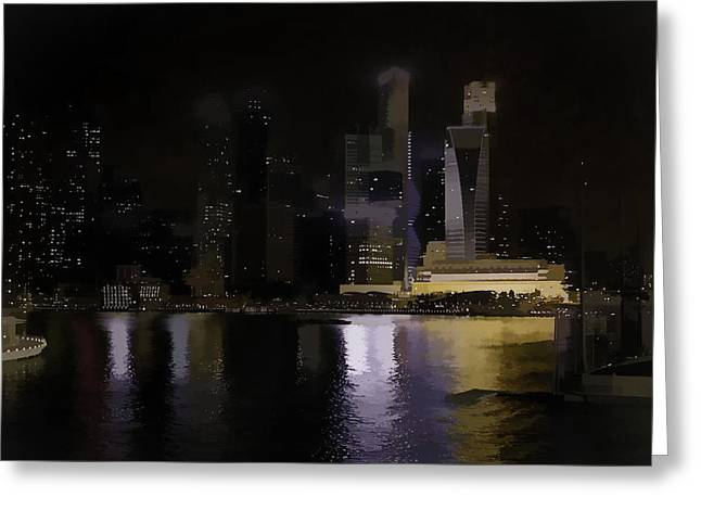 Singapore Skyline As Seen From The Pedestrian Bridge Greeting Card by Ashish Agarwal