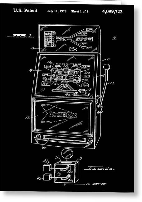 Slot Machine Patent 1978 - Black Greeting Card by Stephen Younts