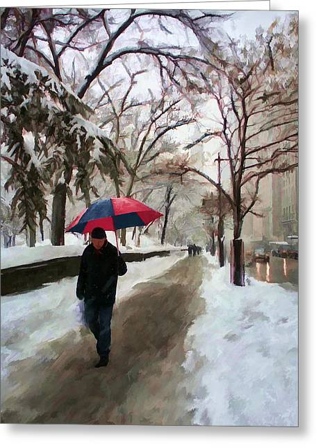 Snowfall In Central Park Greeting Card