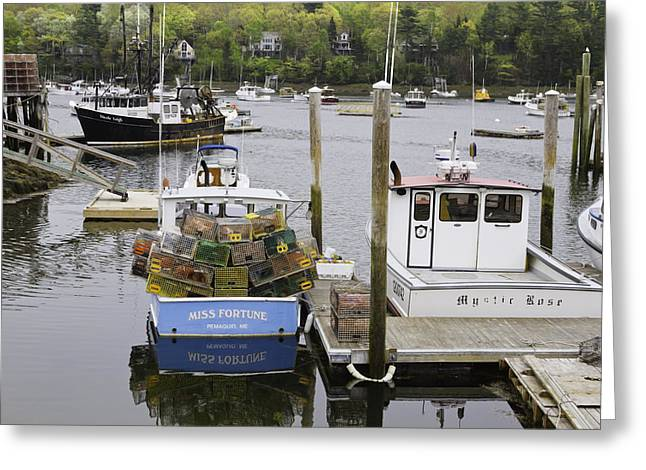South Bristol And Fishing Boats On The Coast Of Maine Greeting Card