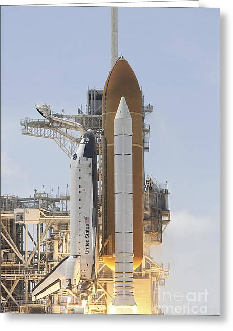 Space Shuttle Atlantis Twin Solid Greeting Card by Stocktrek Images