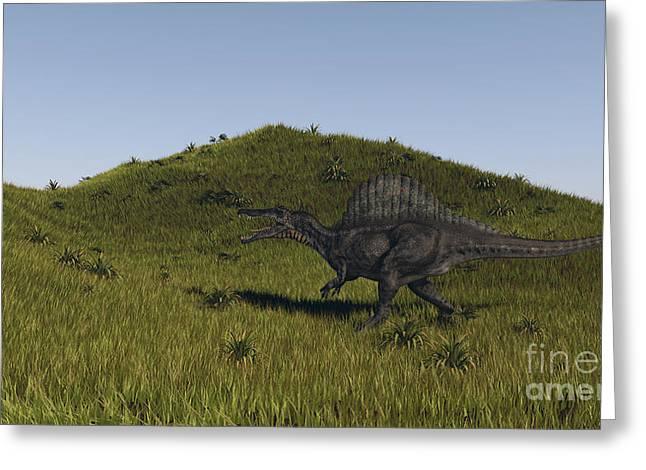 Spinosaurus Walking Across A Grassy Greeting Card by Kostyantyn Ivanyshen