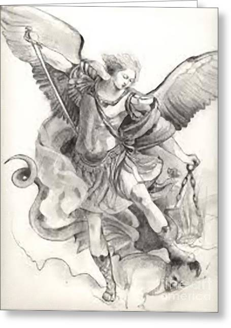 St. Michael Greeting Card by Archangelus Gallery